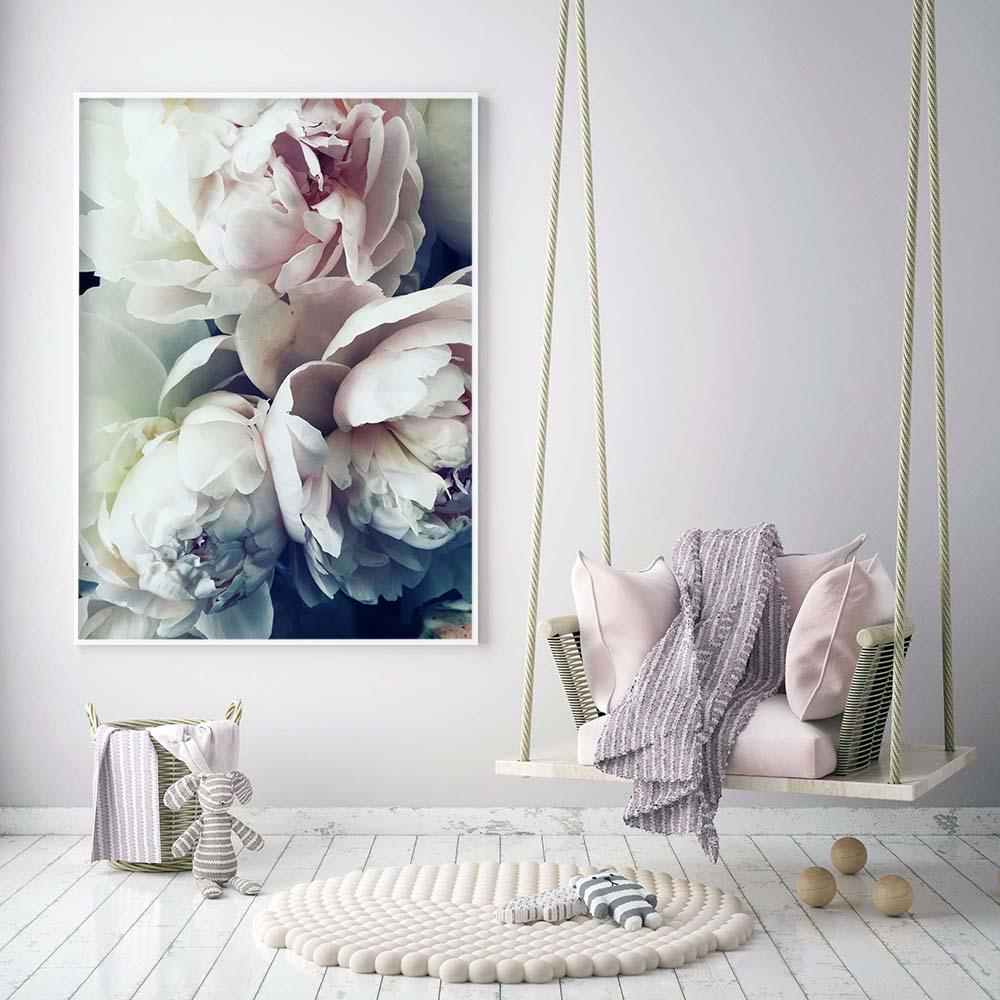Dusky Pink Grey Blue Peony Art Canvas - Pebble & Leaf HomeArt