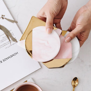 Luxury Marble Pink Gold Coaster - Pebble & Leaf HomeCoasters