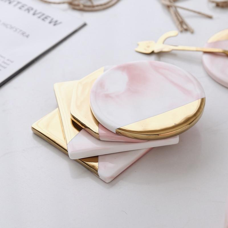 Round Luxury Marble Pink Gold Coaster - Pebble & Leaf HomeCoasters