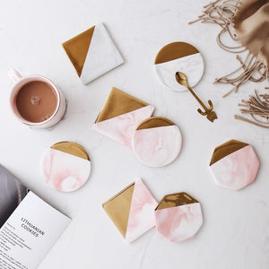 Square Luxury Marble Pink Gold Coaster - Pebble & Leaf HomeCoasters