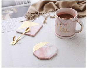 Hexagon Luxury Marble Pink Gold Coaster - Pebble & Leaf HomeCoasters