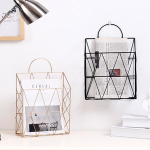 Black Metal Wire Hanging Magazine Gold Storage Rack - Pebble & Leaf HomeStorage