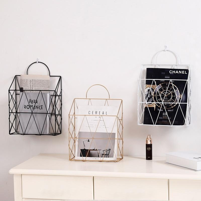 Metal Wire Hanging Magazine Gold Storage Rack - Pebble & Leaf HomeStorage