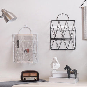 White Metal Wire Hanging Magazine Gold Storage Rack - Pebble & Leaf HomeStorage