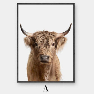 20x30cm No Frame / A Highland Cow Canvas Art - Pebble & Leaf HomeArt