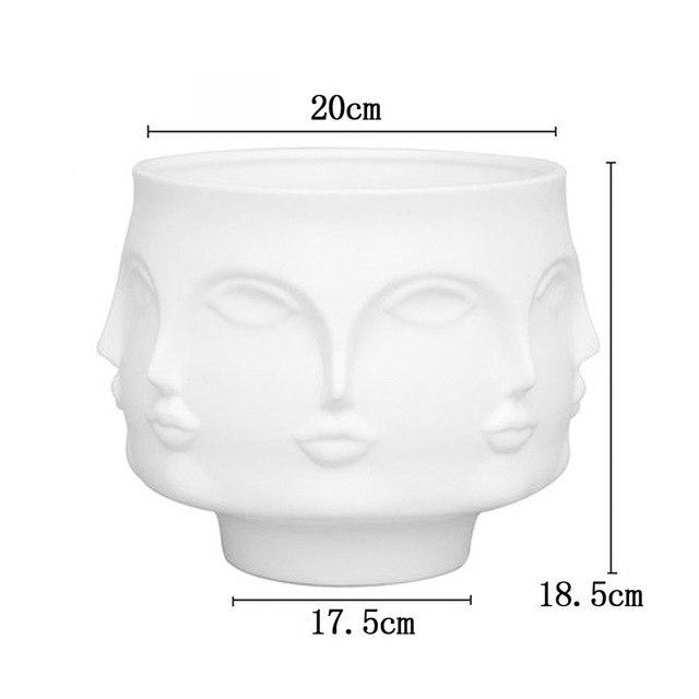 Uk / Short 3D Face Porcelain Flower Vase - Pebble & Leaf HomeVases