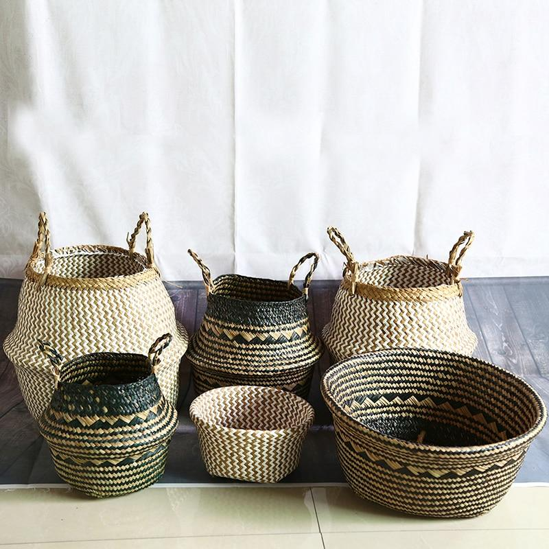 Rattan Folding Basket Pot - Pebble & Leaf Ltd