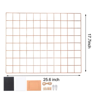 Gold Rose Gold Mesh Grid Photo Memo Display Board Free Offer Organiser