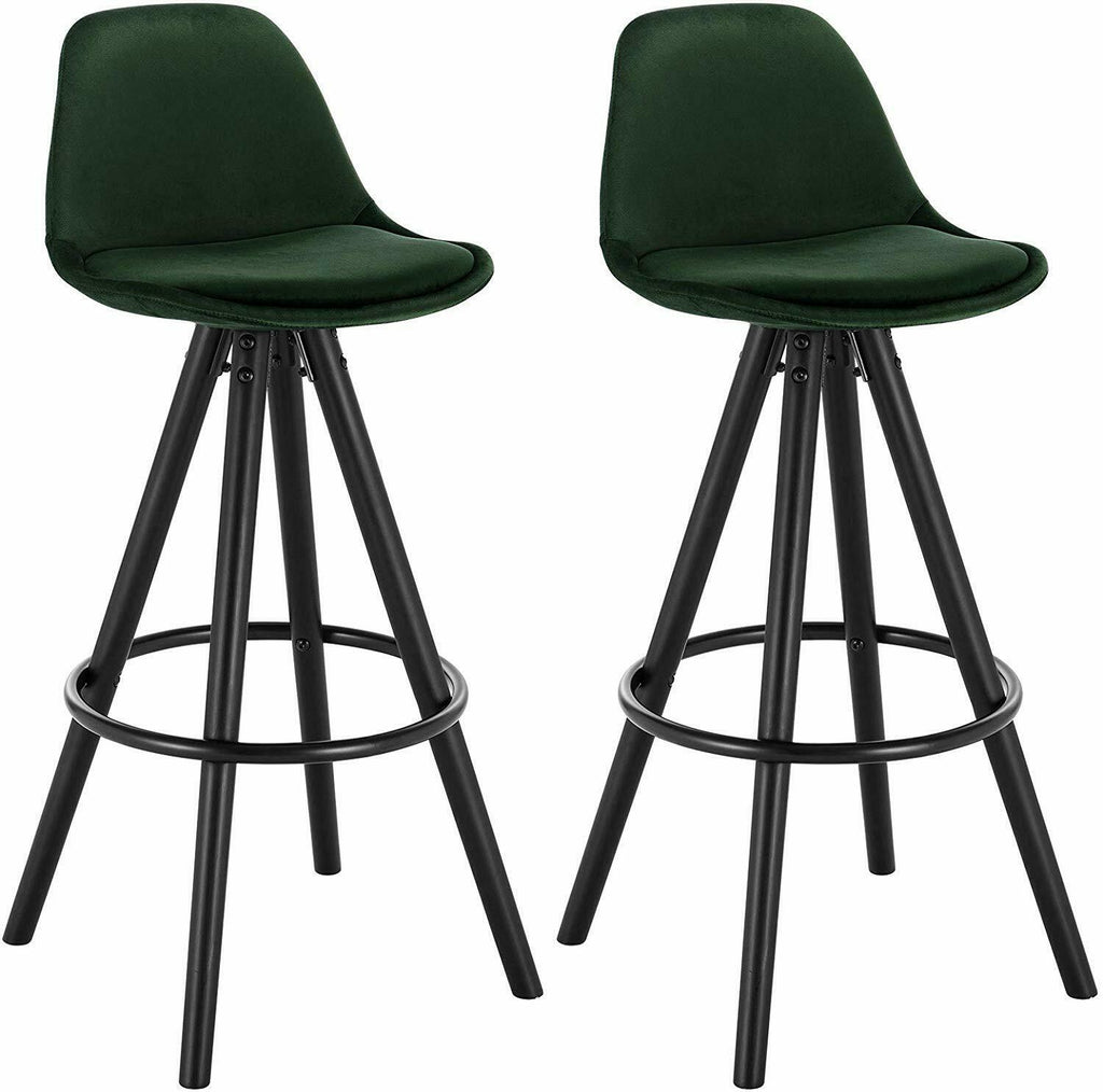 Default Title Alfie Wetu Dark Green Velvet Kitchen Breakfast Bar Stool Chair 65cm Black Solid Wood Leg - Pebble & Leaf Home