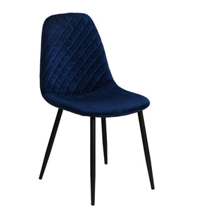 Dark blue Diamond Velvet Alfie Scandi Eames Style Dining Chair Black Metal Leg - Pebble & Leaf HomeFurniture