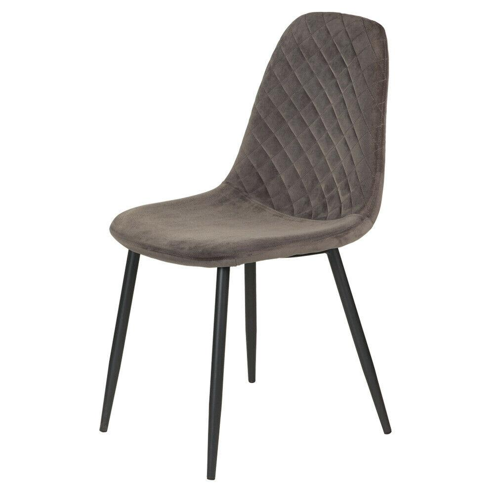 Light Brown Diamond Velvet Alfie Scandi Eames Style Dining Chair Black Metal Leg - Pebble & Leaf HomeFurniture
