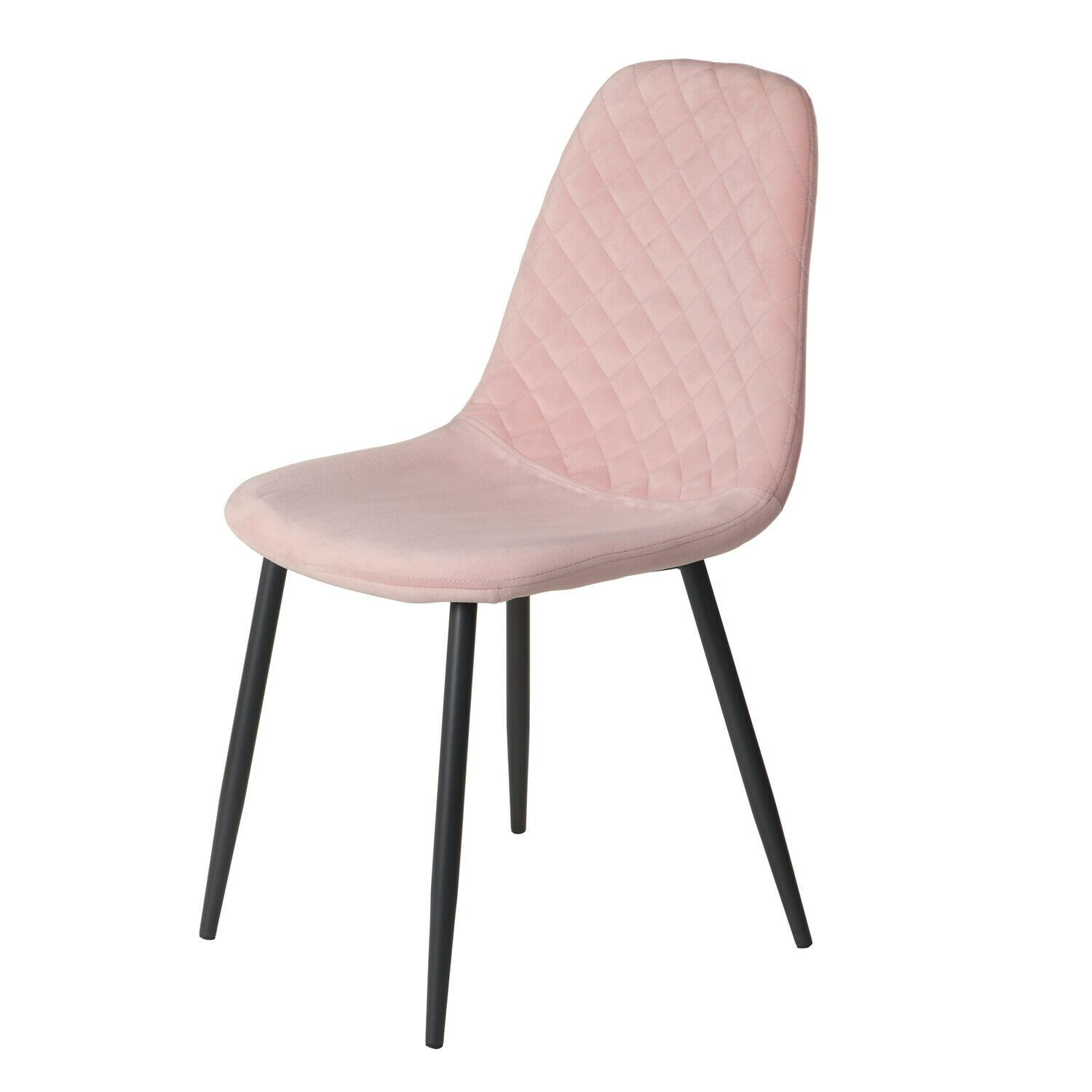 Pink Diamond Velvet Alfie Scandi Eames Style Dining Chair Black Metal Leg - Pebble & Leaf HomeFurniture