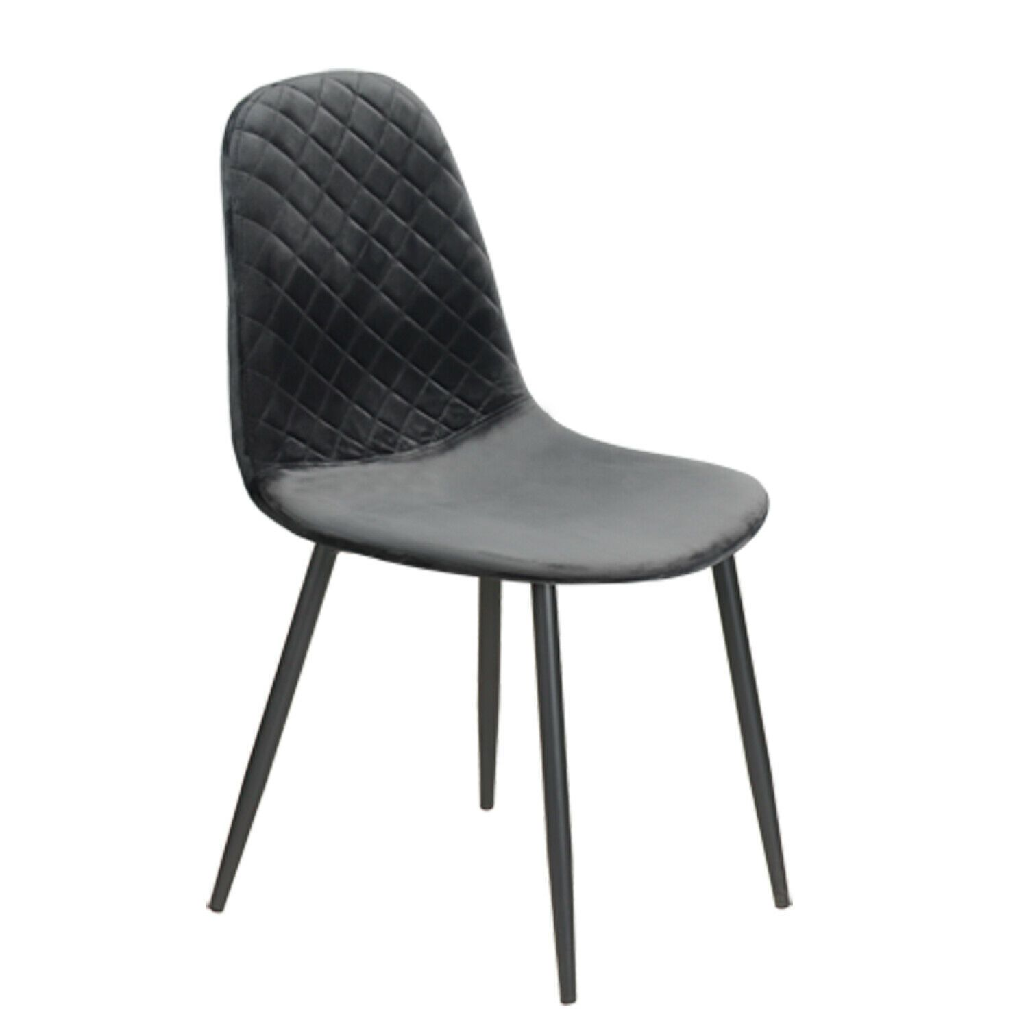 Smoke Grey Diamond Velvet Alfie Scandi Eames Style Dining Chair Black Metal Leg - Pebble & Leaf HomeFurniture