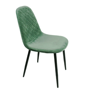 Mint green Diamond Velvet Alfie Scandi Eames Style Dining Chair Black Metal Leg - Pebble & Leaf HomeFurniture