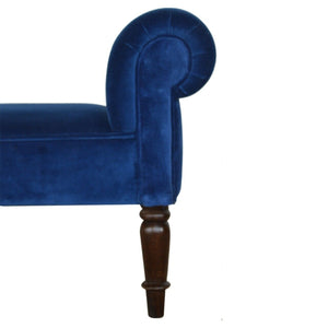 Handmade Solid Wood Royal Blue Velvet Rolled Arm Bench Seat Walnut Turned Legs - Pebble & Leaf Home
