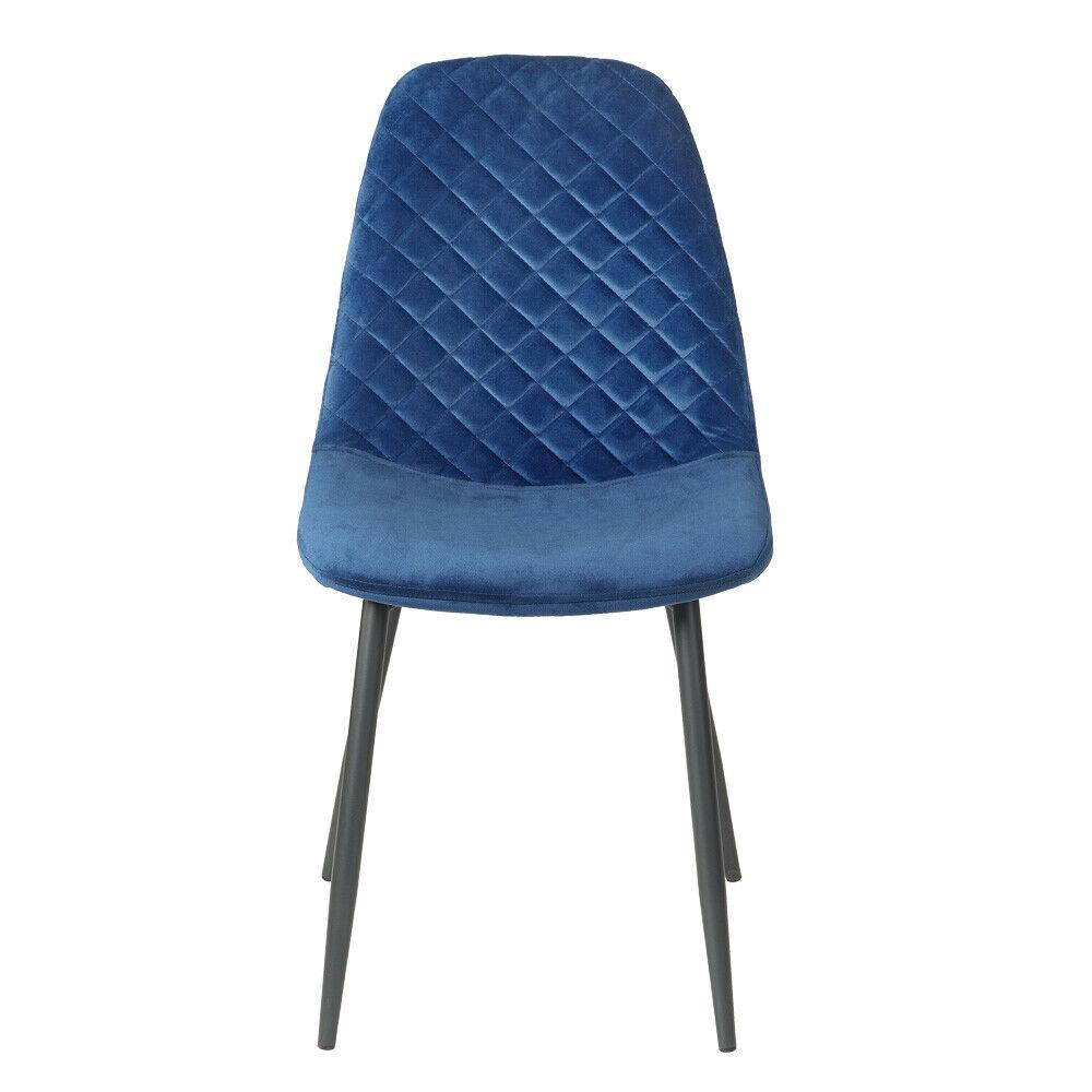 Blue Diamond Velvet Alfie Scandi Eames Style Dining Chair Black Metal Leg - Pebble & Leaf HomeFurniture