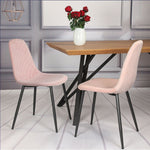 Diamond Velvet Alfie Scandi Eames Style Dining Chair Black Metal Leg - Pebble & Leaf HomeFurniture