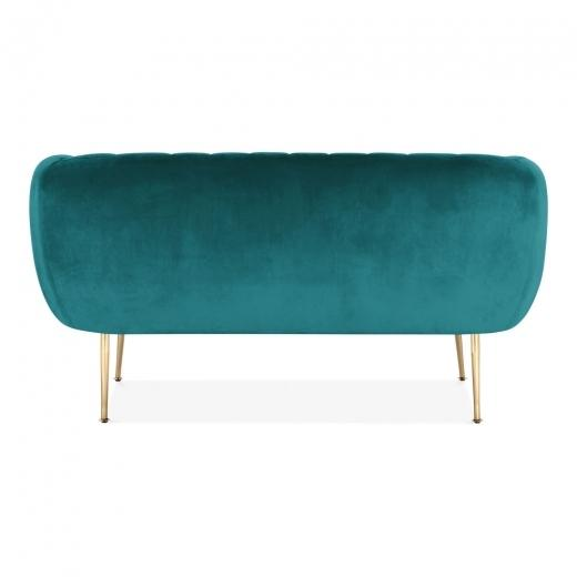 Teal Luxe Curve Modern Art Deco Style Velvet 2 Seater Sofa + Free Offer!