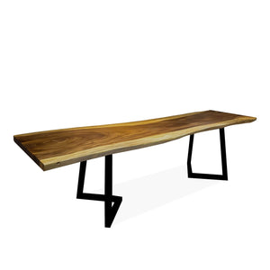 The Real Solid V Slab Walnut Wood Live Edge 265 cm Table Black Steel Leg - Pebble & Leaf Ltd