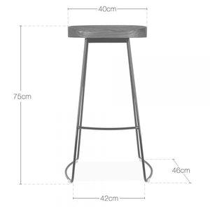 Rustic Light Solid Wood Under Counter Bar Stool Metal - White - Copper - Steel -Black Brass Leg 65 - 75 cm
