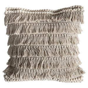 Teal Totem Fringe Tassel / Off White Southwestern Chic Cushion - Pebble & Leaf Ltd