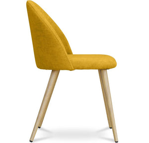 Mustard Gold / Light Wood Effect Metal Leg CURVE SMOOTH BACK FABRIC DINING DESK CHAIR DARK / LIGHT WOOD LEGS - Pebble & Leaf HomeFurniture