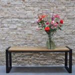 Urban Industrial Rustic Light Solid Wood Black Steel Square U Leg Picnic Table Bench Set 160cm - 180cm - Pebble & Leaf LtdFurniture