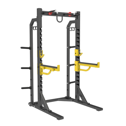 Commercial Half Rack with Plate storage, rock grips and spotters.