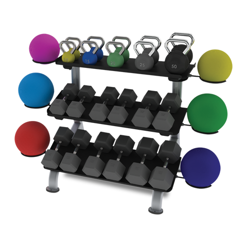 True Fitness FS-24 3-Tier Flat Tray Dumbbell Rack