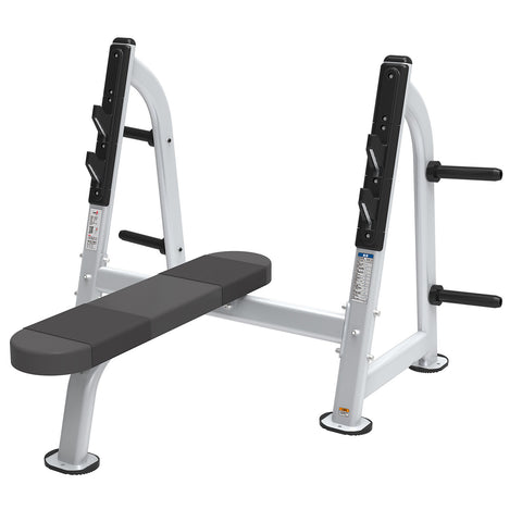 Flat Barbell Free Weight Chest Press Station with Plate Storage