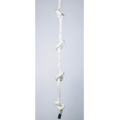 knotted climbing rope | white