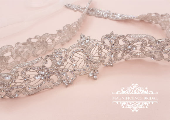 Couture bridal belt, wedding belt, bridal sash, Bridal belt,rhinestone belt, wedding dress belt, beaded bridal belt, silver wedding belt, embellished belt, sparkly belt, bridal sash belt, Victorian wedding, wedding sash, ADRIANA