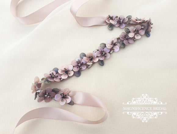 Blush bridal belt, mauve bridal belt, flower belt, bridal belt, wedding dress belt, multi colour bridal, statement belt, blush bridal sash, sashes and belts, blush straps, flower sash belt, vintage flower belt, dusty rose belt, bridal sash, vintage belt,