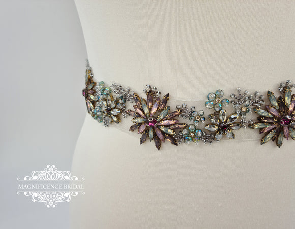 Multi colour belt, bridal belt, colour crystal belt, wide bridal belt, multi colour bridal, statement belt, wide wedding belt, rhinestone belt, bridal sash, vintage belt, all around belt, dress belt, colorful belt AURELIA