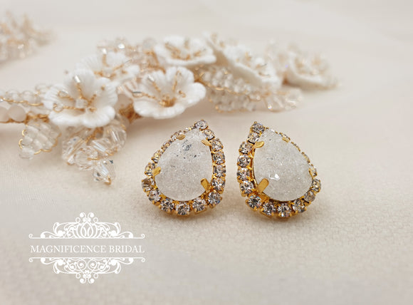 Frosted drop stud earrings SOPHIA