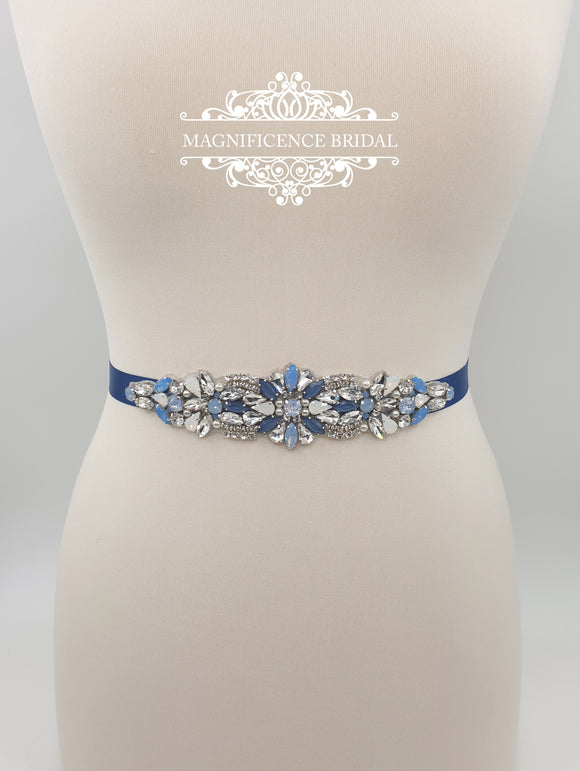 True blue bridal sash ATASI