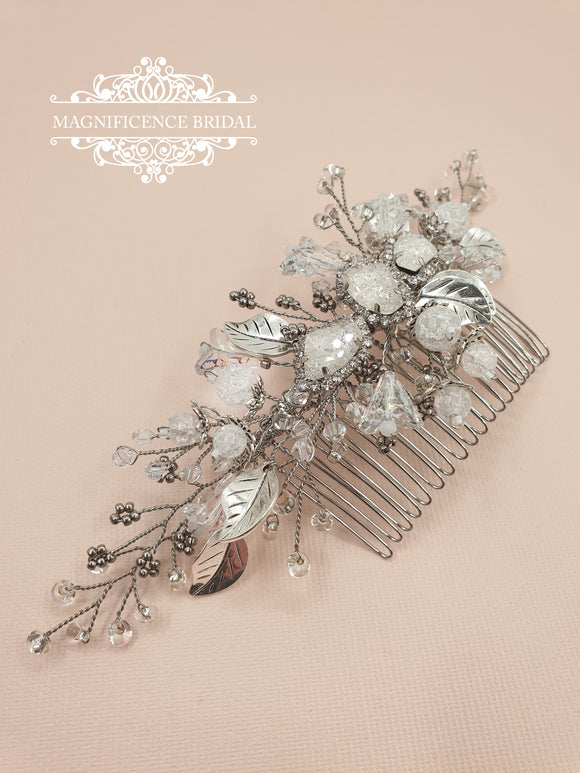 magnificencebridal-com,Frosted vintage silver bridal comb JOHANNAH,hair comb.
