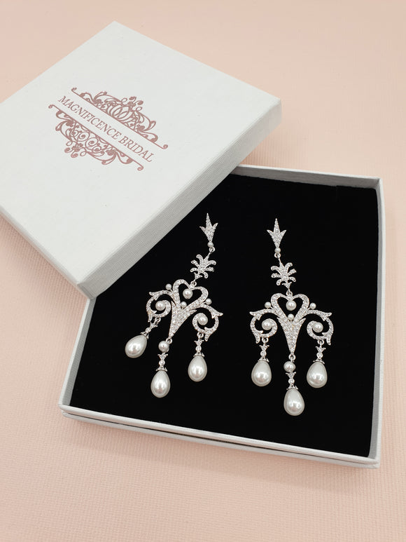 magnificencebridal-com,Pearl chandelier earrings DENISE,Earrings.