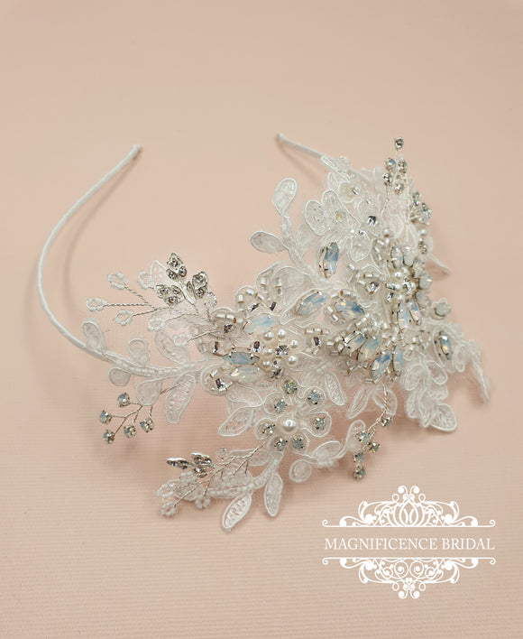 magnificencebridal-com,White opal and lace headpiece STELLA,hair vine.