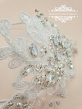 White opal and lace headpiece STELLA