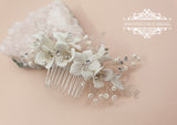 Ivory flower comb AGNES