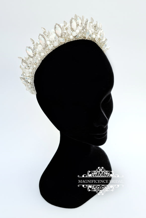 White opal headpiece GLORIA