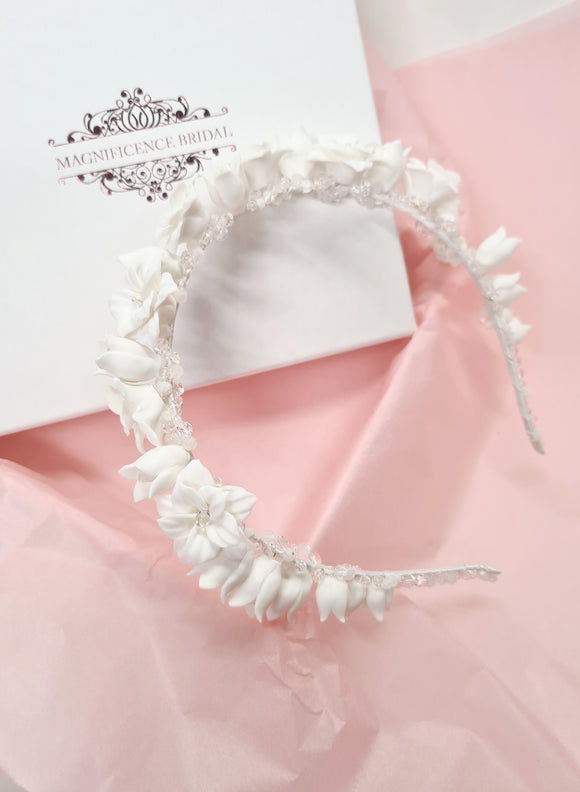 Porcelain clay flower headband CORDELIA