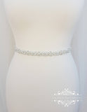 Bridal sash, thin bridal belt, thin bridal sash, thin pearl belt, thin wedding belt, wedding belt, skinny belt, pearl wedding belt, ELINA - magnificencebridal-com