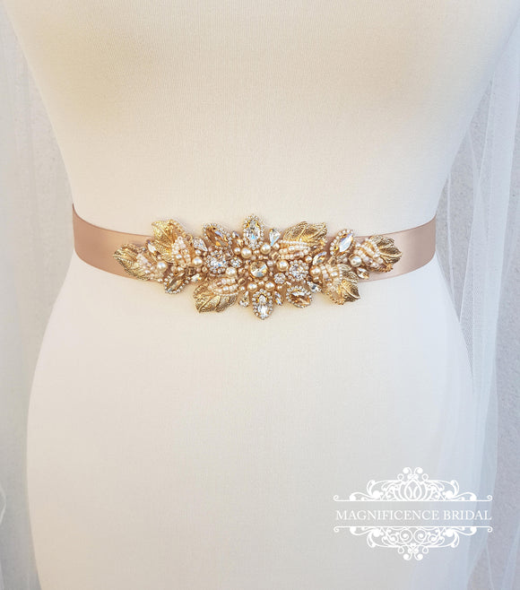 Gold bridal belt, gold leaf belt, bridal belt, champagne sash, bridal sash, wedding belt, champagne belt, gold leaf sash, leaf belt, DARLENE - magnificencebridal-com