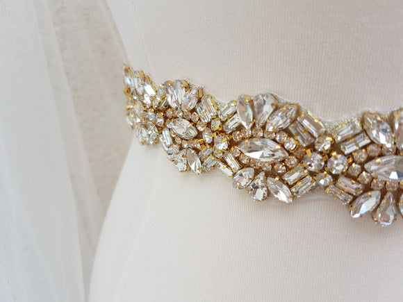Gold bridal belt, gold bridal sash, rhinestone belt, bridal belt, wedding belt, bridal sash, crystal belt, wedding dress belt, MARILYN - magnificencebridal-com