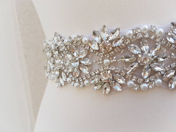Bridal belt, wide bridal sash, wedding belt, rhinestone belt, bridal sash, wide bridal belt, diamante belt, sash belt, sparkly belt VICKI - magnificencebridal-com