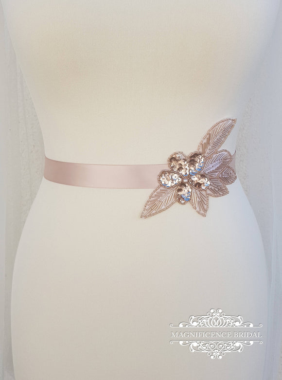 Rose gold belt, blush bridal belt, Bridesmaid belt, rose gold sash, bridal belt and sash, embellish belt, bridal belt, wedding belt, AMY - magnificencebridal-com