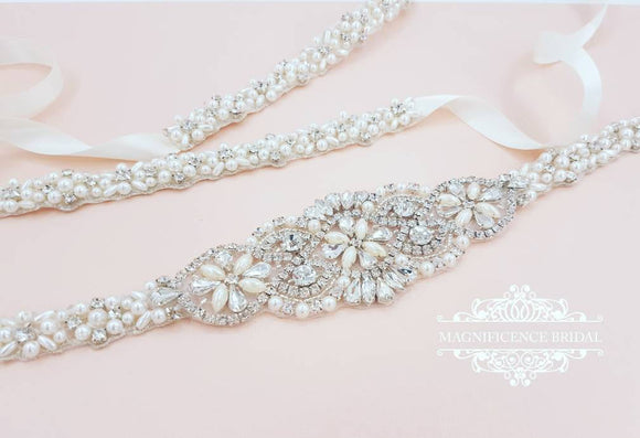 Thin Bridal belt, pearl belt, thin pearl belt, wedding belt, pearl bridal belt, Bridal belt, wedding dress belt, bridal trim, EILISH - magnificencebridal-com
