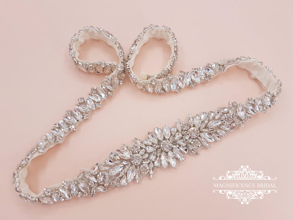 Bridal belt, wedding belt, rose gold bridal belt, wedding belts and sashes, thin bridal belt, diamond belt, rhinestone belt, KYLEE - magnificencebridal-com